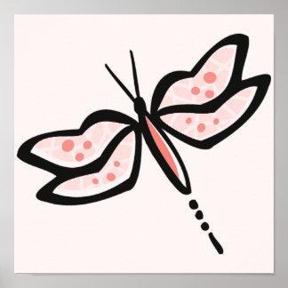 Libélula rosada coralina posters