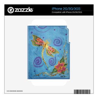 Libélula: seda pintada a mano original por Cyn buj Calcomanía Para El iPhone 3