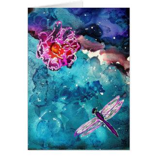 Libélula sobre el agua con la pintura del arte de  tarjetón