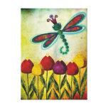 Libélula sobre tulipanes impresiones en lona estiradas