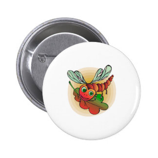 libélula sonriente linda pin redondo 5 cm