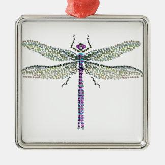 libélula Transparant Adorno Cuadrado Plateado