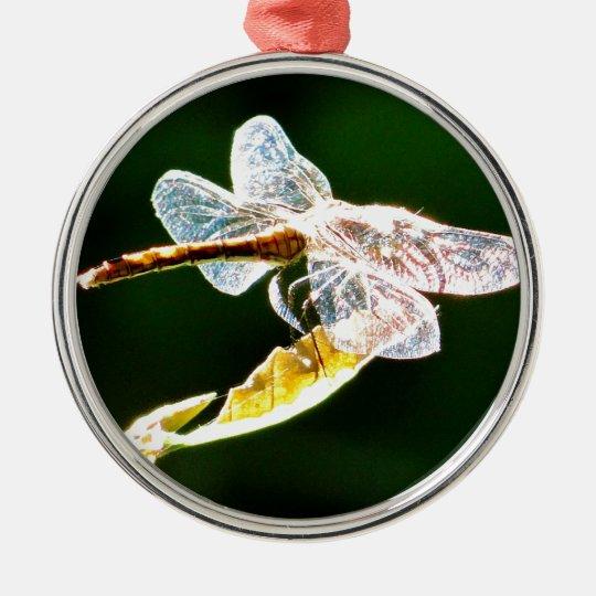 Libélula transparente adorno navideño redondo de metal