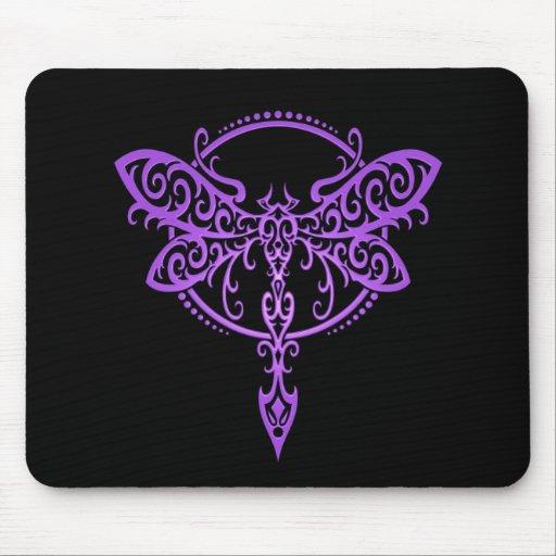 Libélula tribal - púrpura y negro tapete de ratón