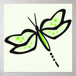 Libélula verde chartreuse, de neón posters