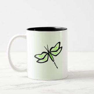 Libélula verde chartreuse, de neón taza de dos tonos
