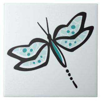 Libélula verde del trullo azulejo cuadrado grande