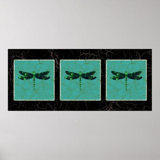 Libélula verde póster