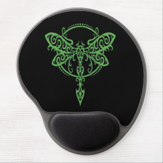 Libélula verde que remolina en negro alfombrilla de raton con gel