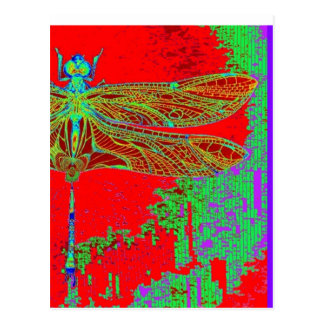 Libélula verde - regalos rojos por Sharles Tarjeta Postal