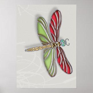 Libélula verde y rojo Jeweled Póster