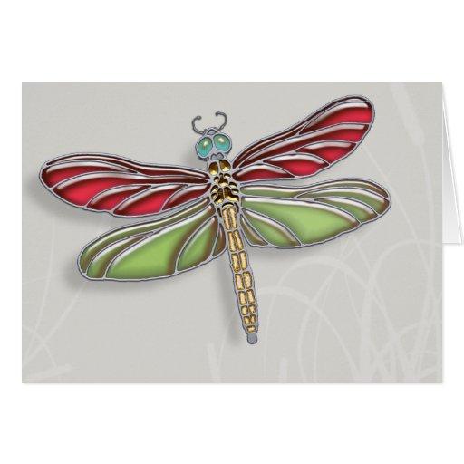 Libélula verde y rojo Jeweled Tarjeta De Felicitación