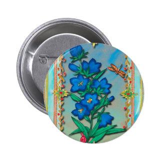 Libélula y flores azules pins