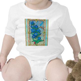 Libélula y flores azules trajes de bebé