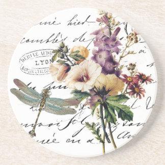 Libélula y flores posavasos de arenisca