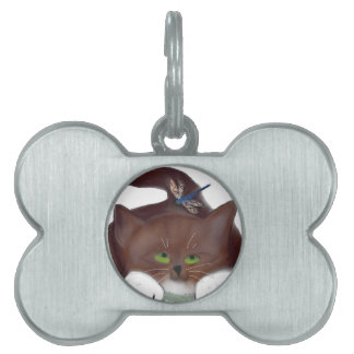 Libélula y gatito azules placa de nombre de mascota