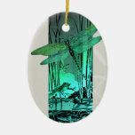 Libélula y rana verdes en la charca adorno ovalado de cerámica