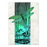 Libélula y rana verdes en la charca invitación 12,7 x 17,8 cm