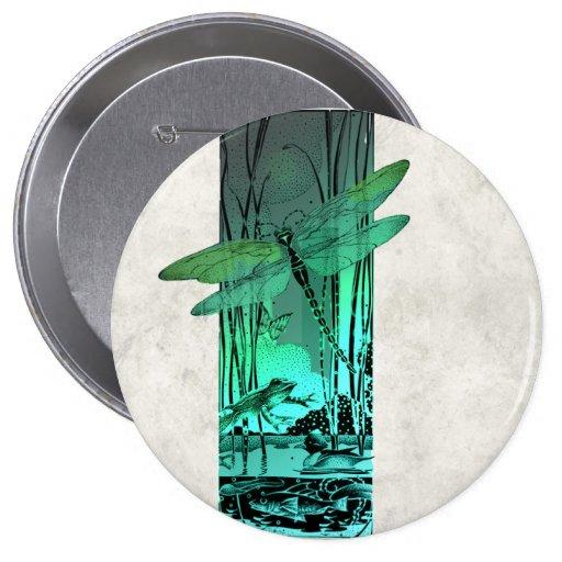 Libélula y rana verdes en la charca pin