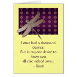 Libélula y tarjeta inspirada de la cita de Rumi