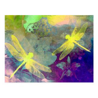 Libélulas amarillas tarjetas postales
