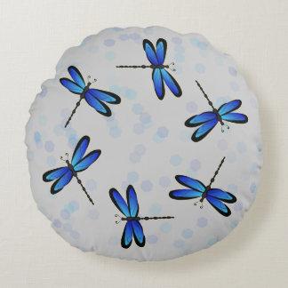 libélulas azules cojín redondo