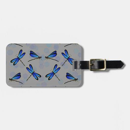 libélulas azules etiquetas de maletas