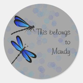 libélulas azules pegatina redonda