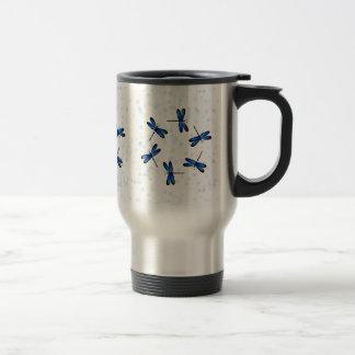 libélulas azules taza de viaje de acero inoxidable