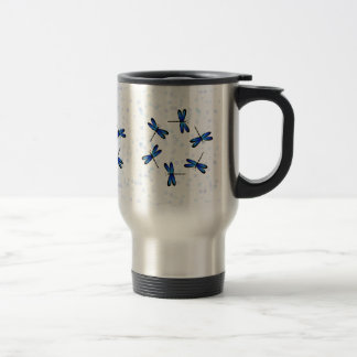 libélulas azules taza de viaje