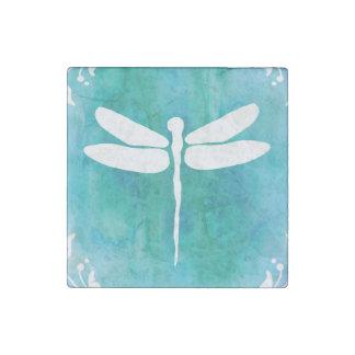 Libélulas blancas del azul de la aguamarina de la imán de piedra