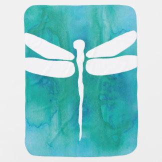 Libélulas blancas del azul de la aguamarina de la manta de bebé