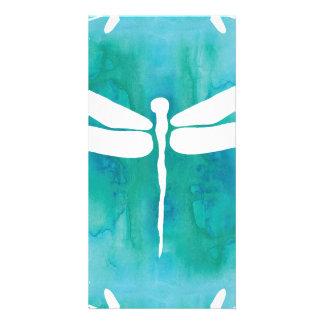 Libélulas blancas del azul de la aguamarina de la tarjetas fotograficas