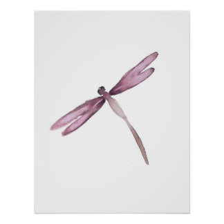 Libélulas blancas púrpuras del poster de la libélu póster