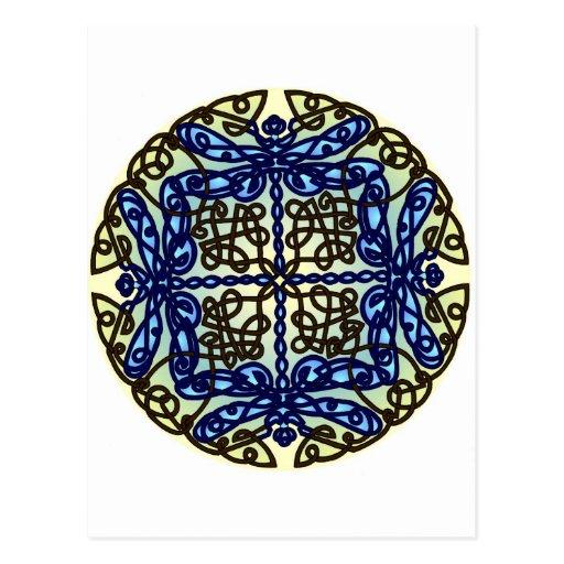 Libélulas célticas azules tarjetas postales