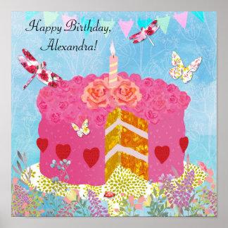 Libélulas de encargo de la torta de cumpleaños, póster