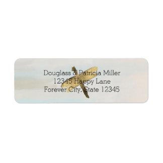 Libélulas de la acuarela del oro etiqueta de remitente