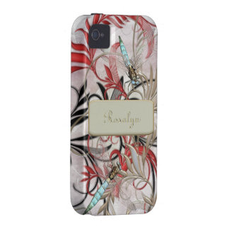Libélulas de la aguamarina Flourish con la base c iPhone 4 Carcasas