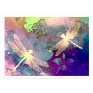 Libélulas de la pintura tarjetas postales