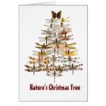 Libélulas del árbol del navidad de la naturaleza felicitación