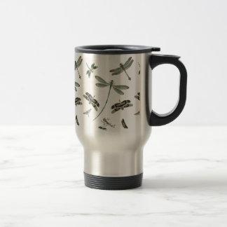Libélulas del vintage taza de viaje de acero inoxidable