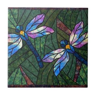 Libélulas del vitral azulejo cuadrado pequeño