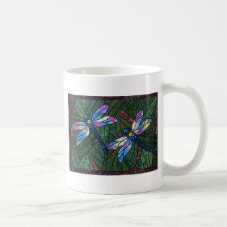 Libélulas del vitral taza