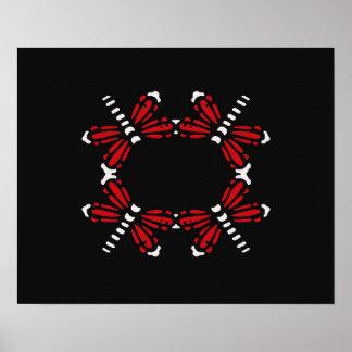 Libélulas en rojo y blanco en negro posters