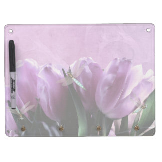 Libélulas púrpuras de la aguamarina de los tulipan pizarra blanca