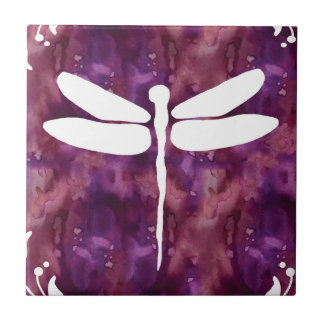 Libélulas rojas púrpuras blancas de la acuarela de azulejo ceramica