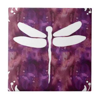 Libélulas rojas púrpuras blancas de la acuarela de azulejo cuadrado pequeño