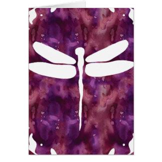 Libélulas rojas púrpuras blancas de la acuarela de tarjetas