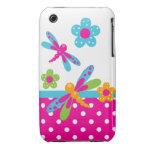 Libélulas rosadas/casamata azul del iPhone 3G/3GS Case-Mate iPhone 3 Protectores