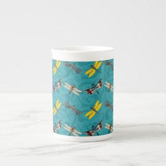 Libélulas - trullo taza de porcelana